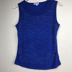 Sleeveless Royal Blue Sequin Pattern Top
